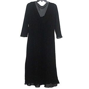 Newport News Black Sheer 3/4 Sleeve Midi Dress 18